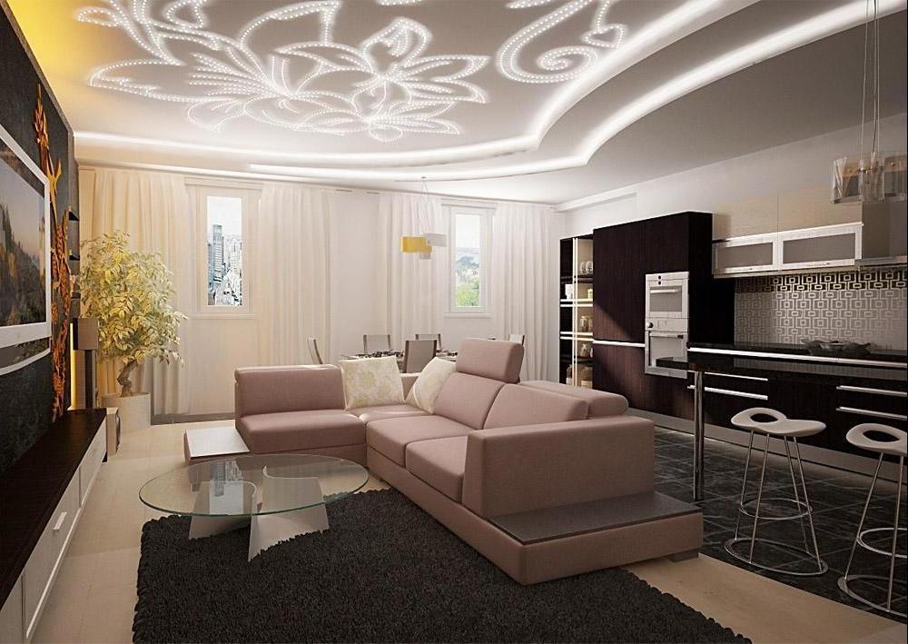 Натяжной потолок с подсветкой и узором