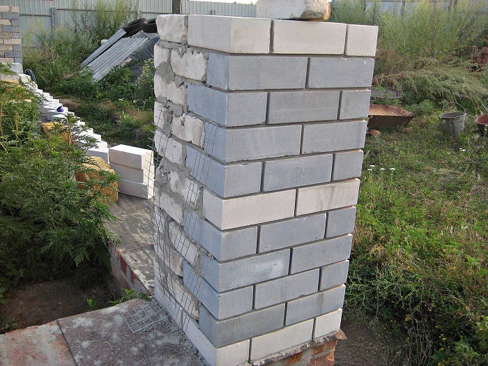 Привязка пилястры к стене