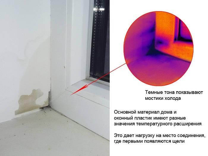 Щели окна на тепловизоре